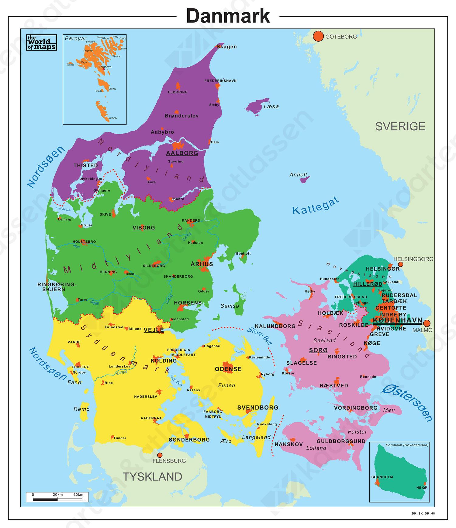 Eenvoudige Kaart Denemarken 68 Kaarten En Atlassen Nl