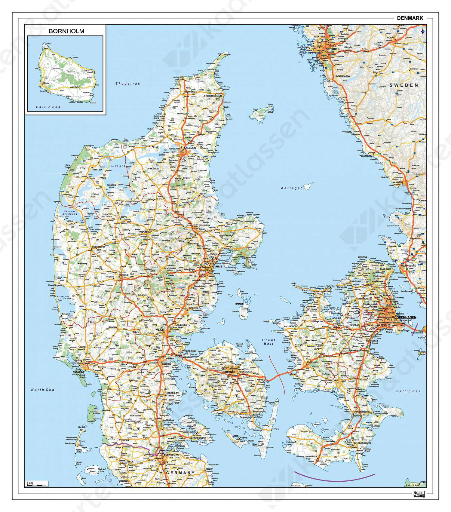 Kaart Wallpaper Kaart Denemarken