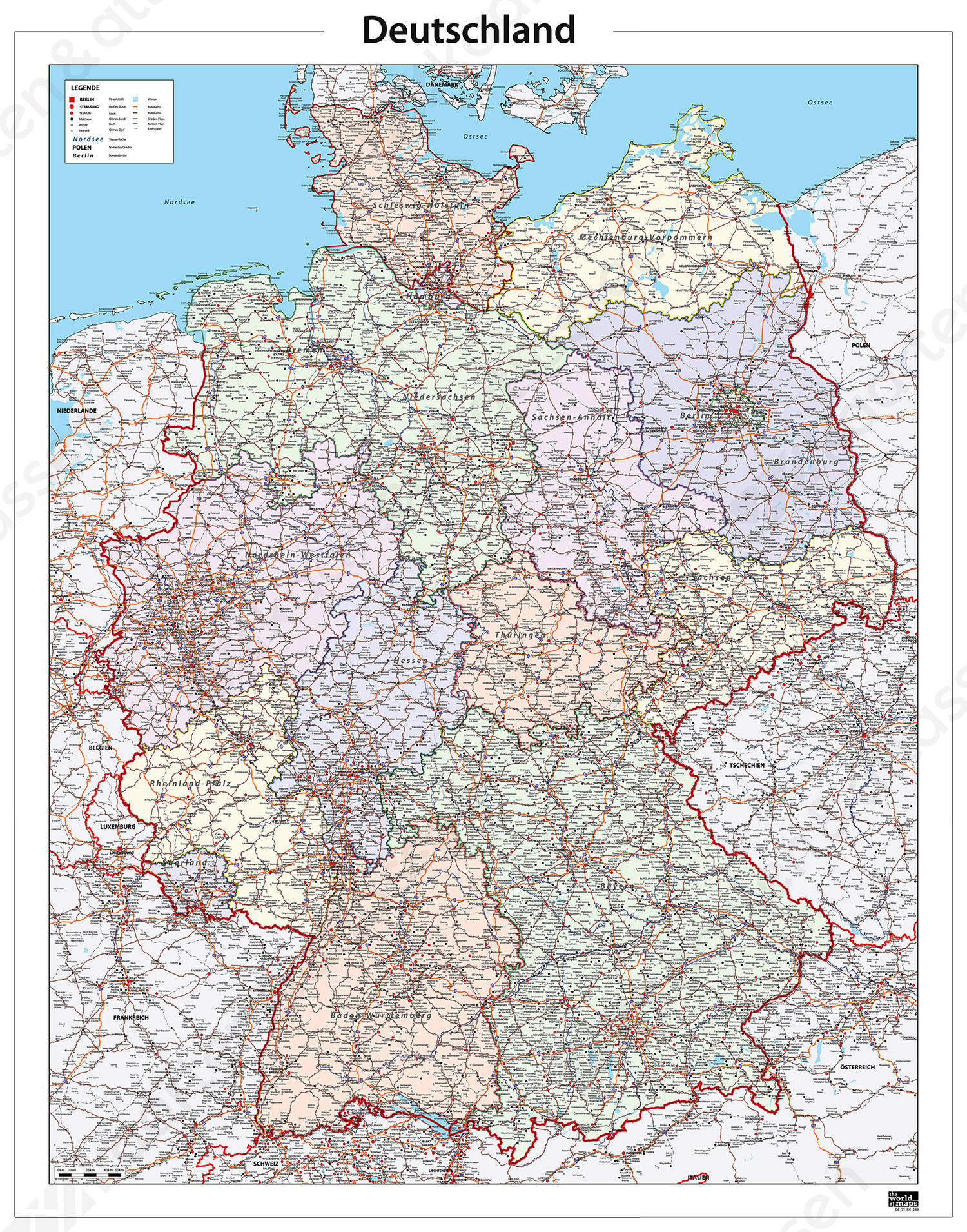 gedetailleerde kaart Kaart Duitsland zeer gedetailleerd 289 | Kaarten en Atlassen.nl