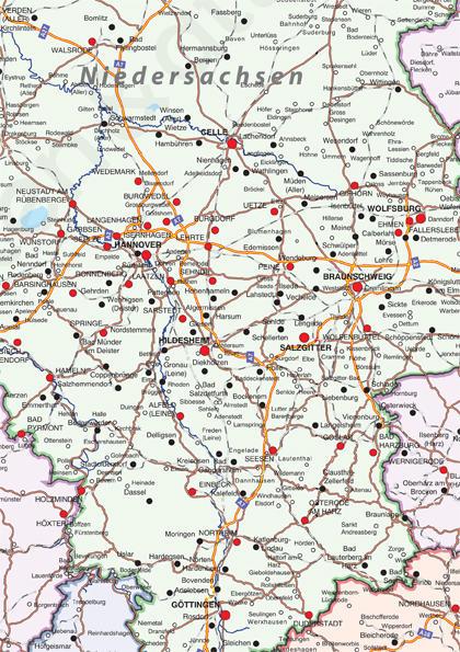 Duitsland kaart met contouren