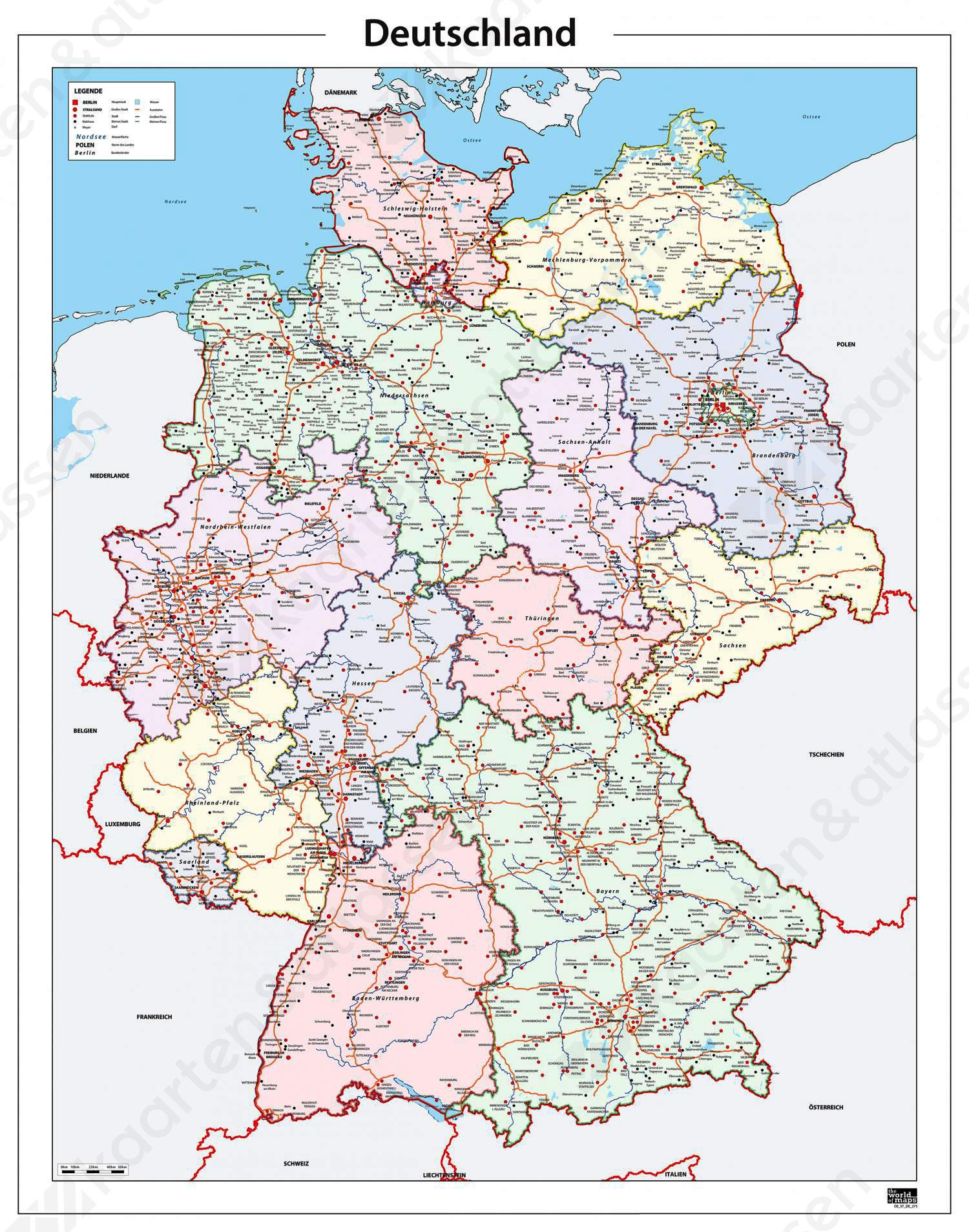 kaart van duitsland Digitale Kaart Duitsland 275 | Kaarten en Atlassen.nl