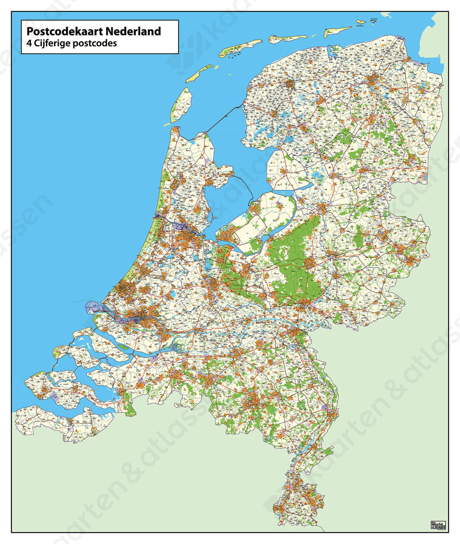 4-cijferige Postcodekaart Nederland 380