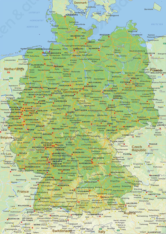 Natuurkundige landkaart Duitsland