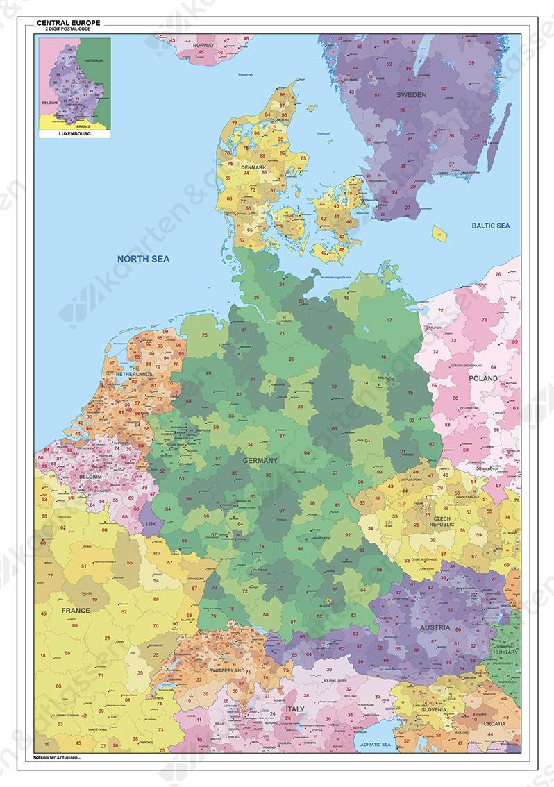 Digitale Postcodekaart van Centraal- Europa 1383
