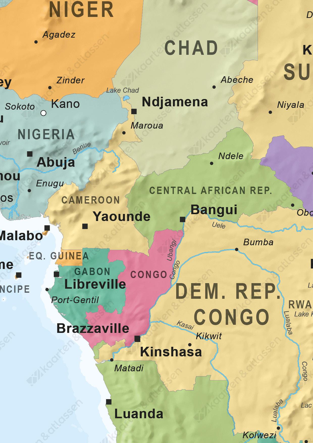 Afrika kaart staatkundig
