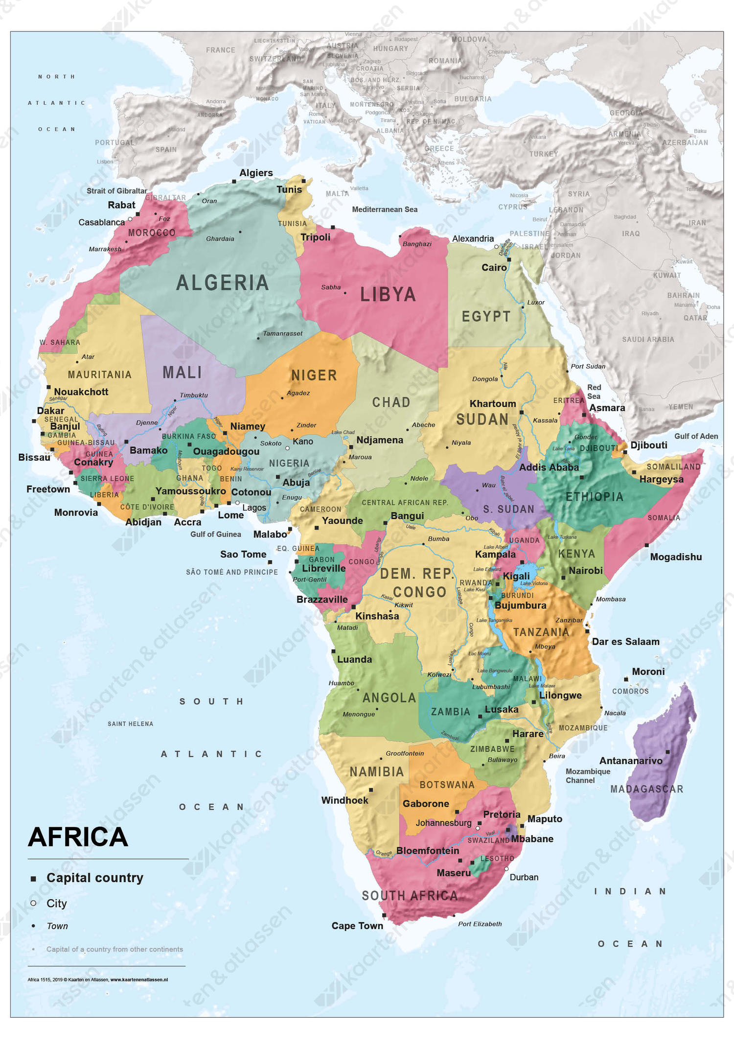 Afrikakaart staatkundig