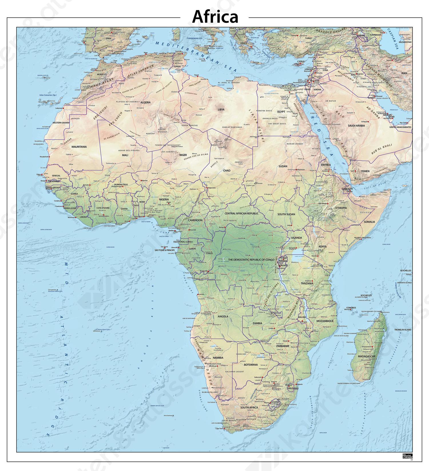 Afrika natuurkundige kaart