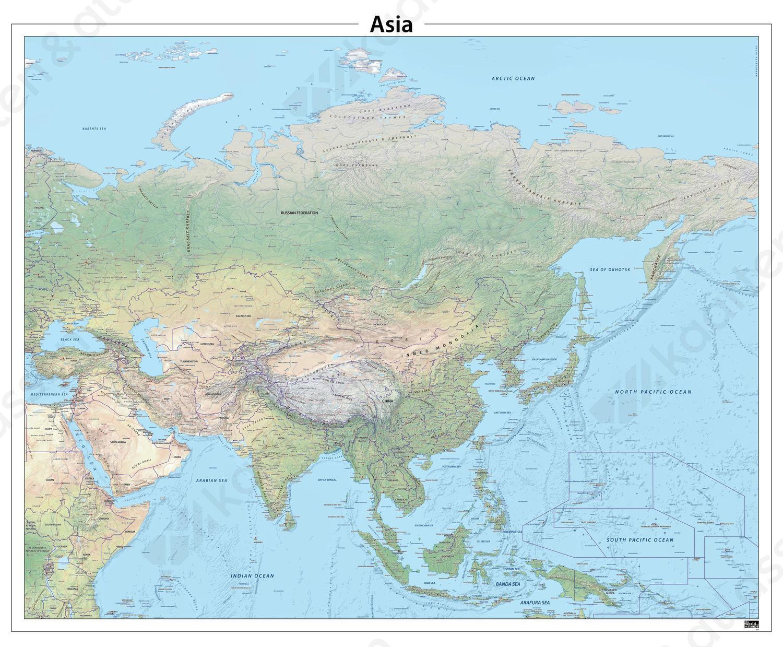 Azië natuurkundige kaart