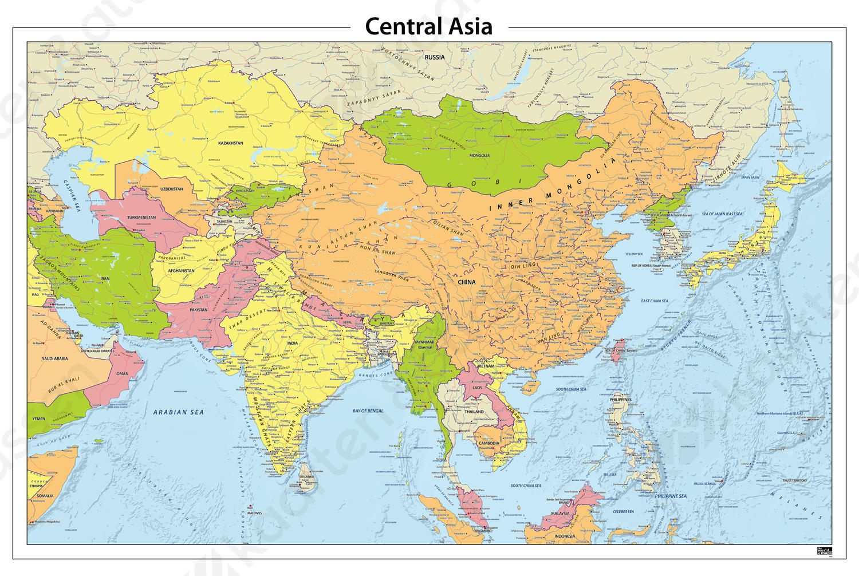 Digitale Centraal Azië staatkundige kaart
