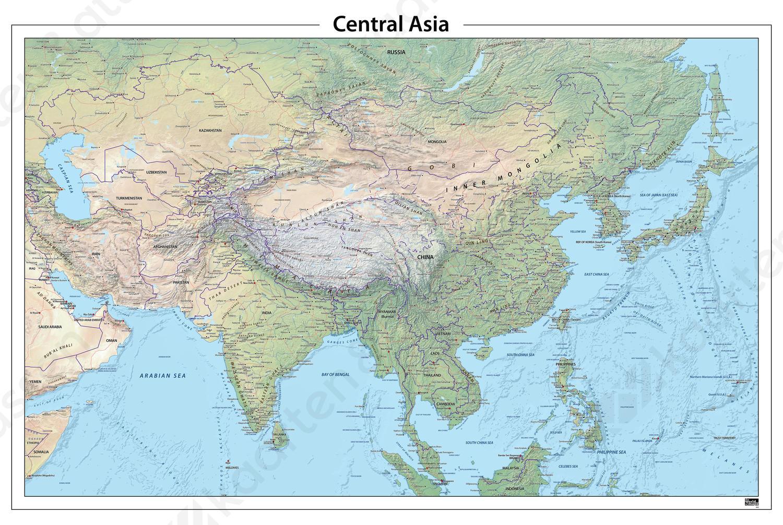 natuurkundige kaart Centraal Azië natuurkundige kaart 643 | Kaarten en Atlassen.nl
