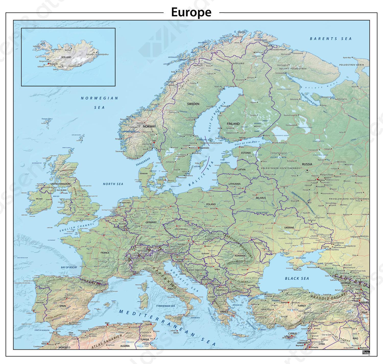 staatkundige kaart europa Europa natuurkundige kaart 622 | Kaarten en Atlassen.nl