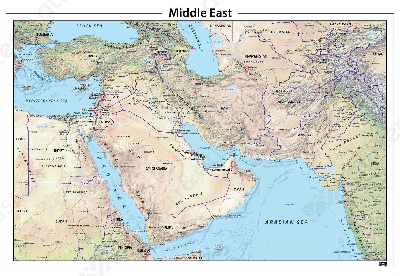 Midden Oosten natuurkundige kaart