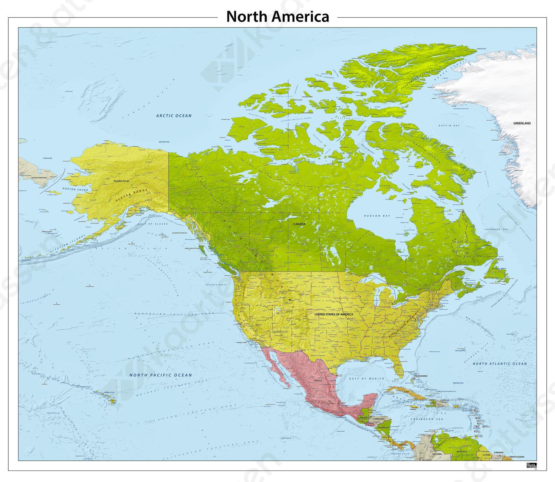 Noord Amerika reliëf kaart