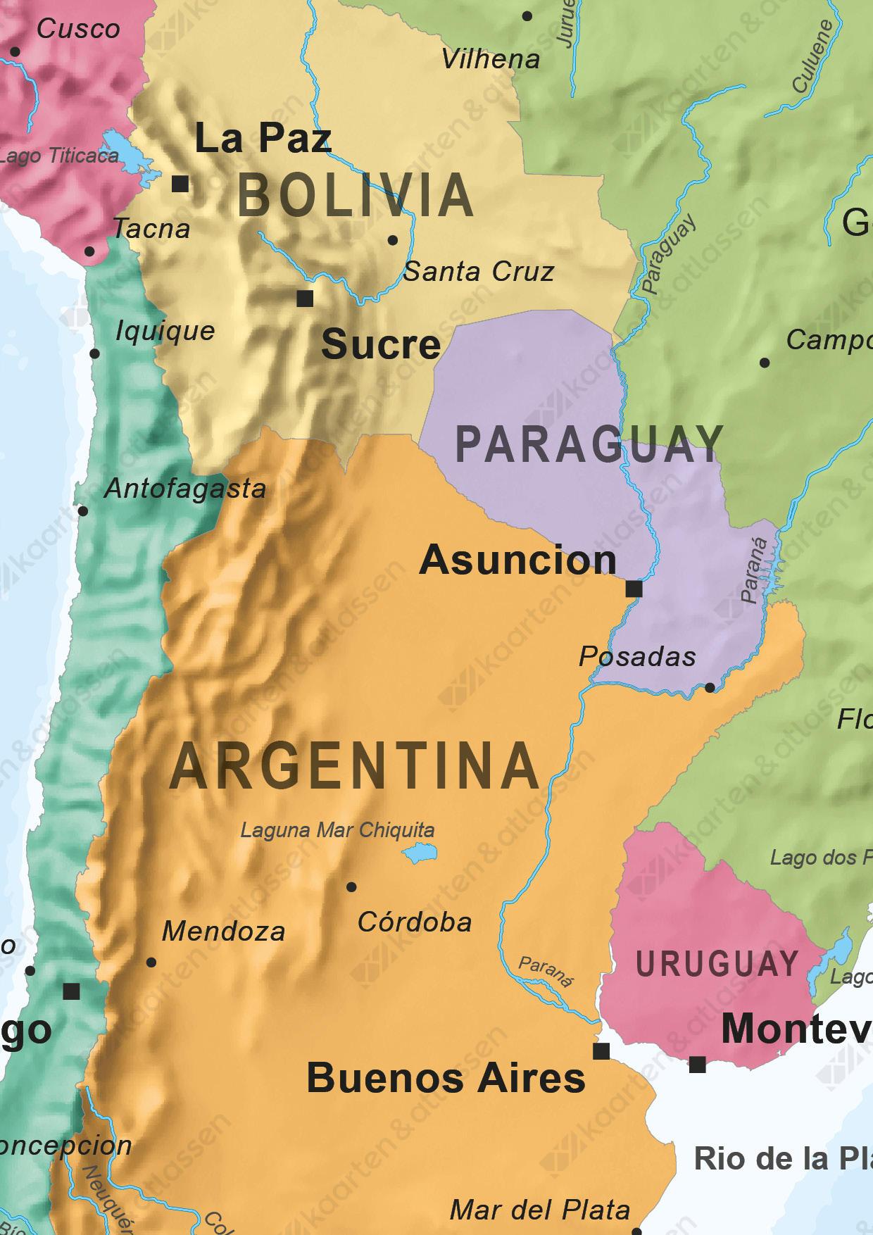 Kaart van Zuid-Amerika