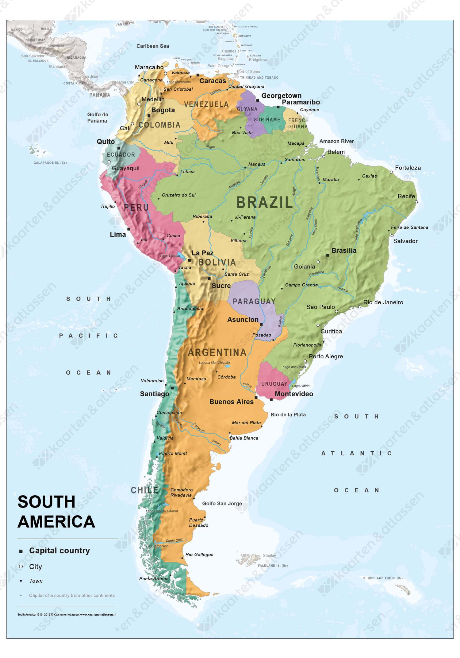 zuid-amerika kaart Zuid Amerika kaart staatkundig 1516 | Kaarten en Atlassen.nl