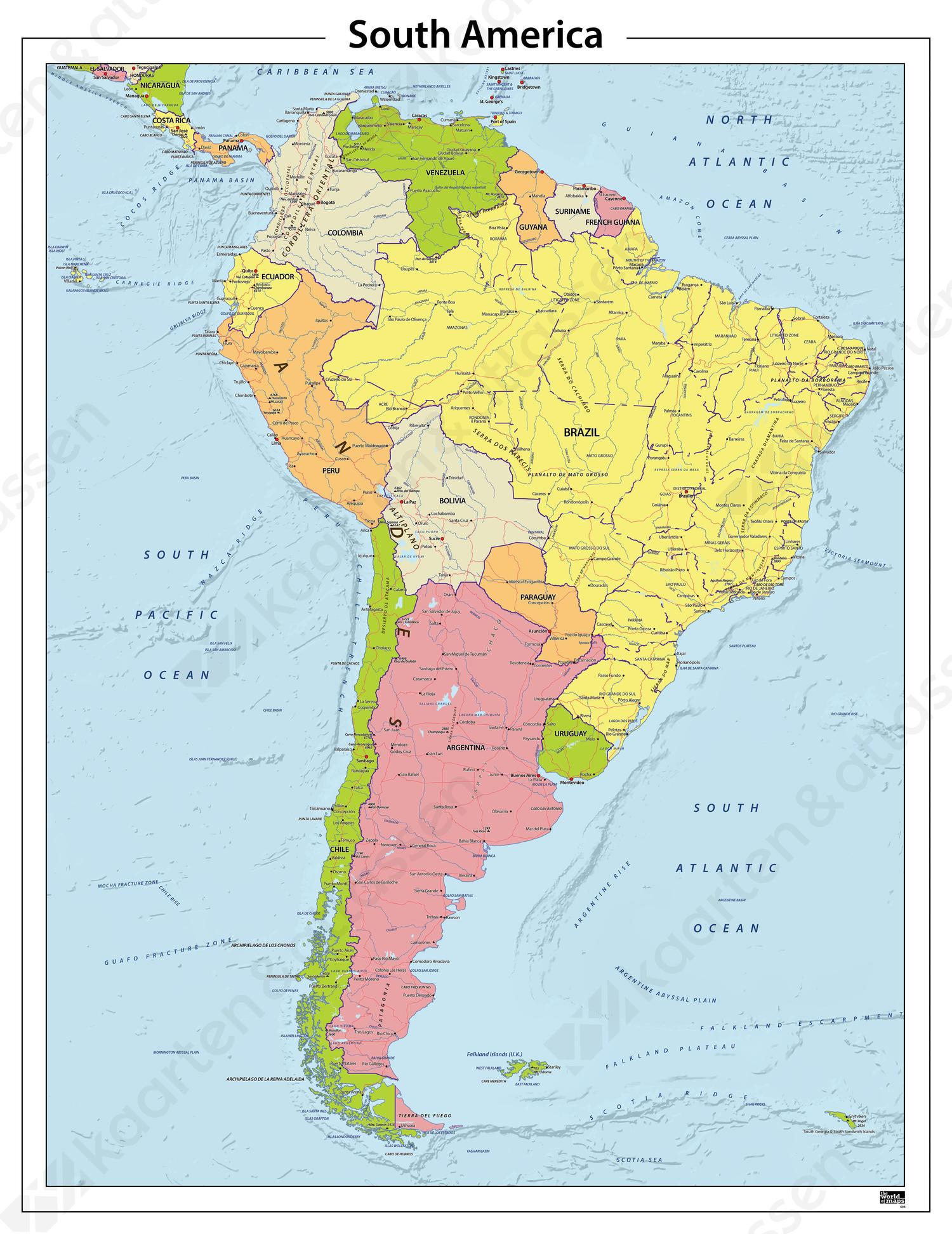 Zuid Amerika Staatkundige Kaart 604 Kaarten En Atlassen Nl