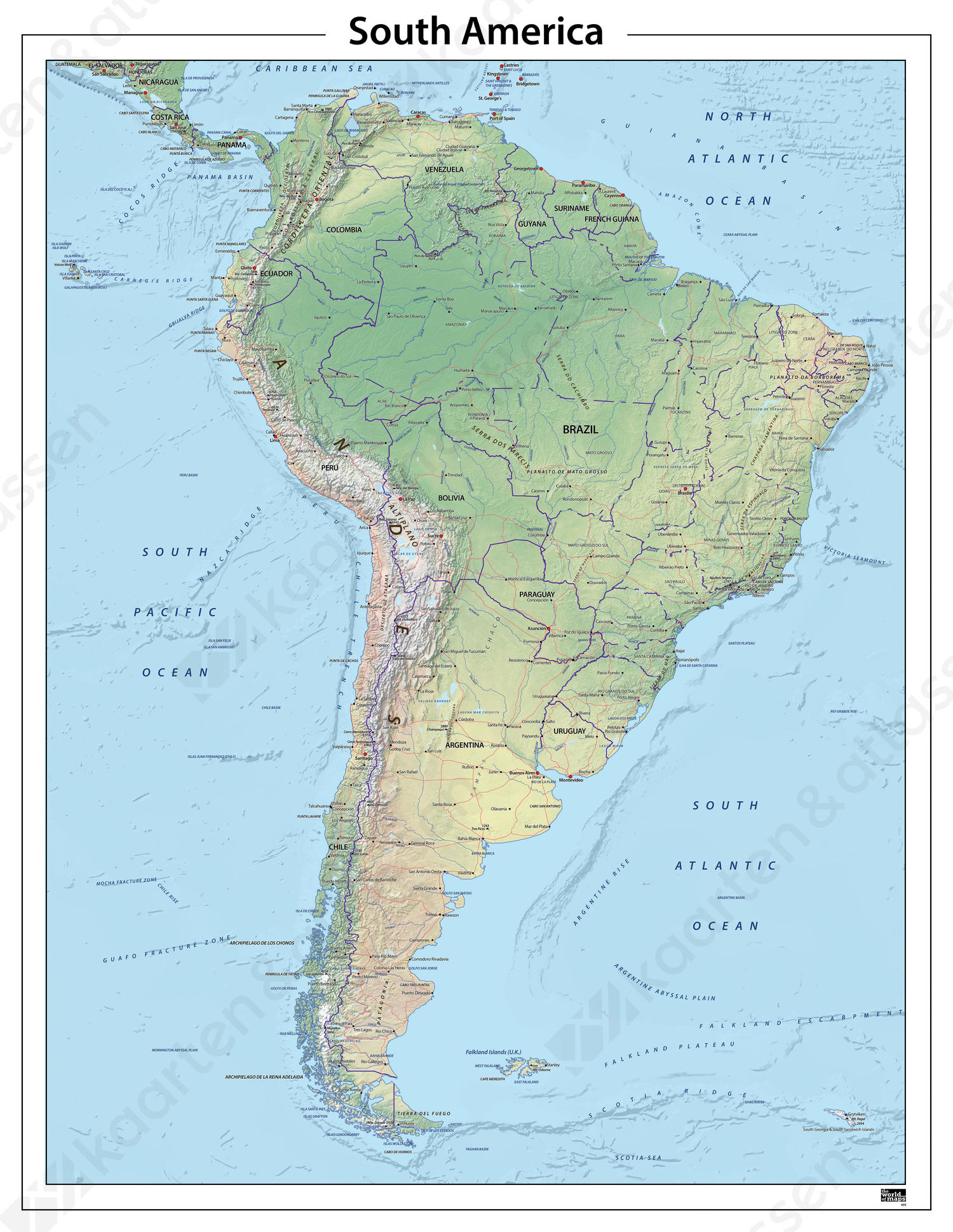 Zuid Amerika natuurkundige kaart