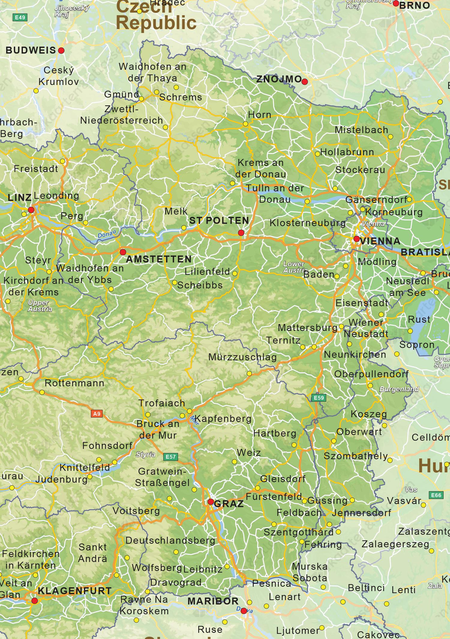 Natuurkundige landkaart Oostenrijk
