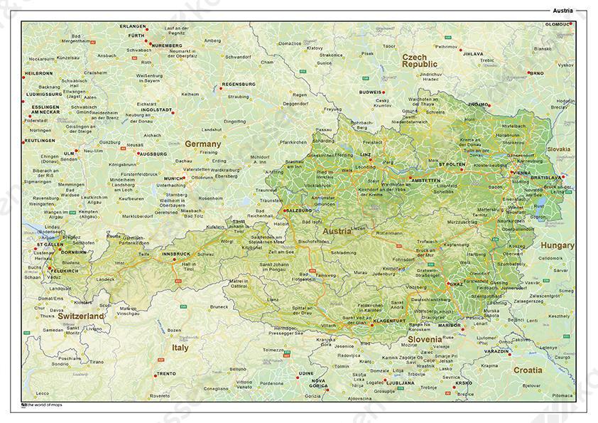 kaart oostenrijk Natuurkundige landkaart Oostenrijk 1455   Kaarten en Atlassen.nl