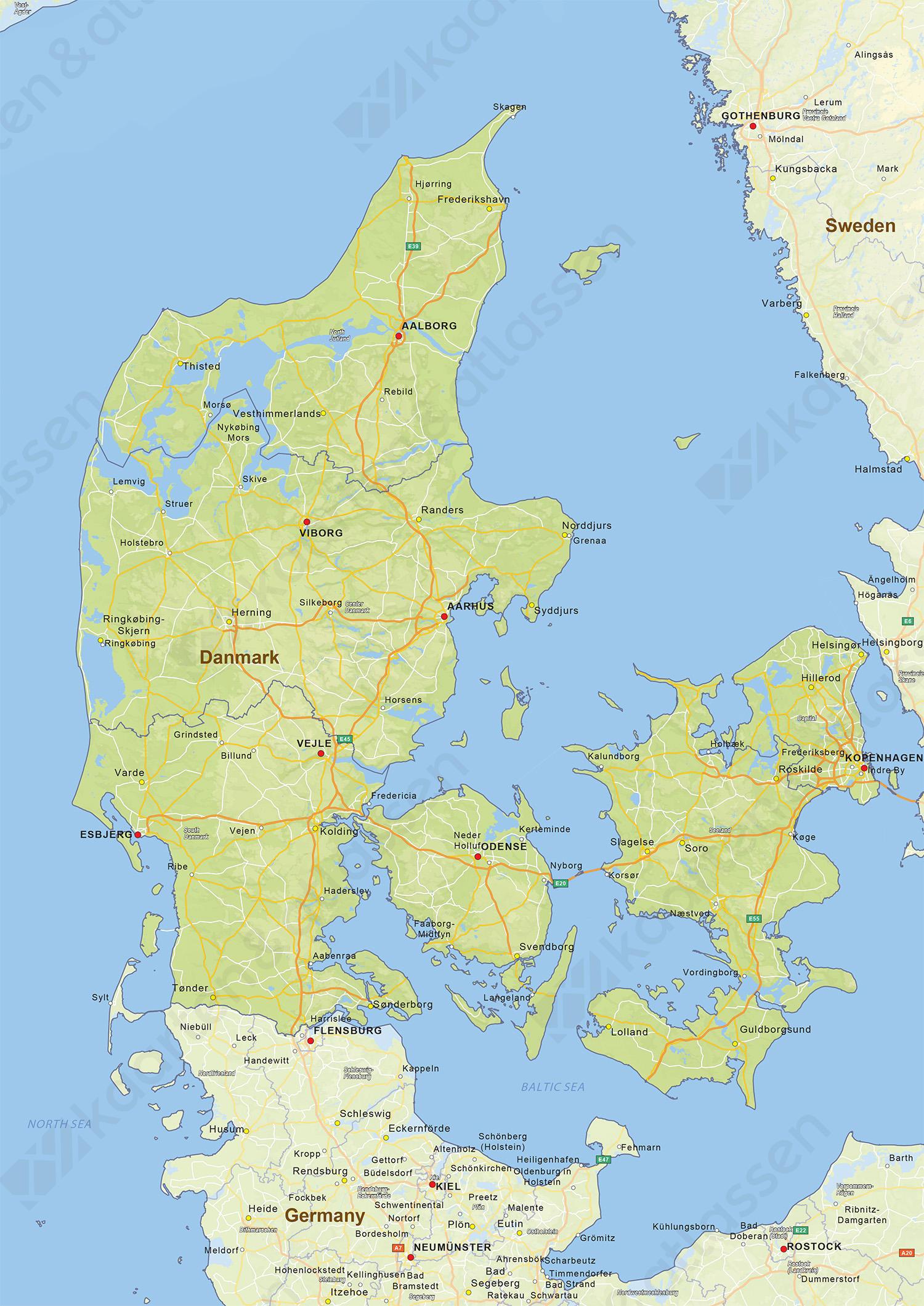 Digitale Natuurkundige Landkaart Denemarken 1429 Kaarten En