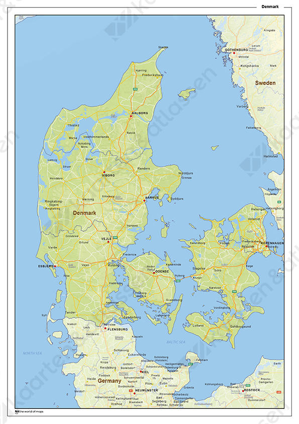 Natuurkundige landkaart Denemarken