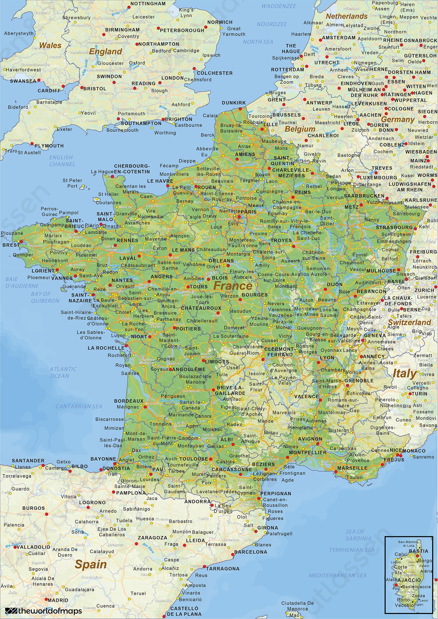Digitale Natuurkundige Landkaart Frankrijk 1433 Kaarten En