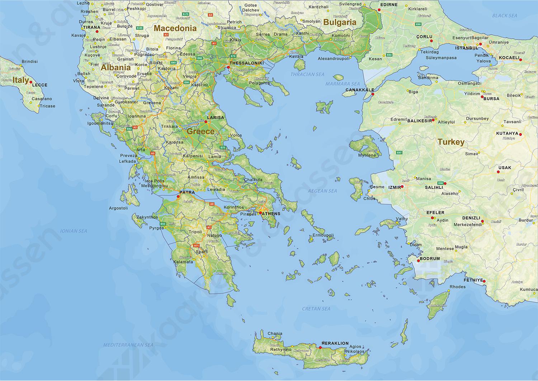 Digitale Natuurkundige Landkaart Griekenland 1435 Kaarten En