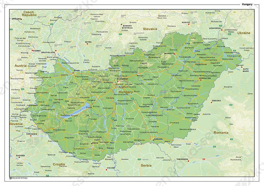 hongarije kaart Natuurkundige landkaart Hongarije 1439 | Kaarten en Atlassen.nl