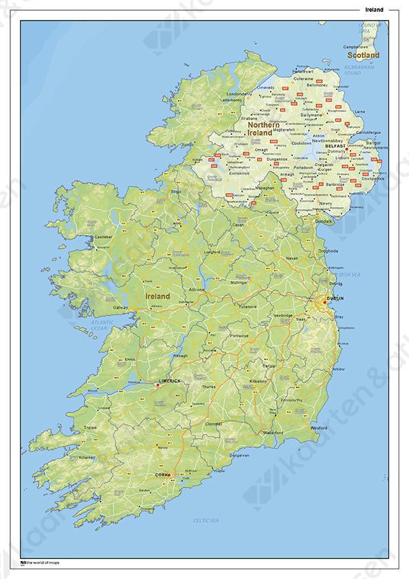 Natuurkundige landkaart Ierland