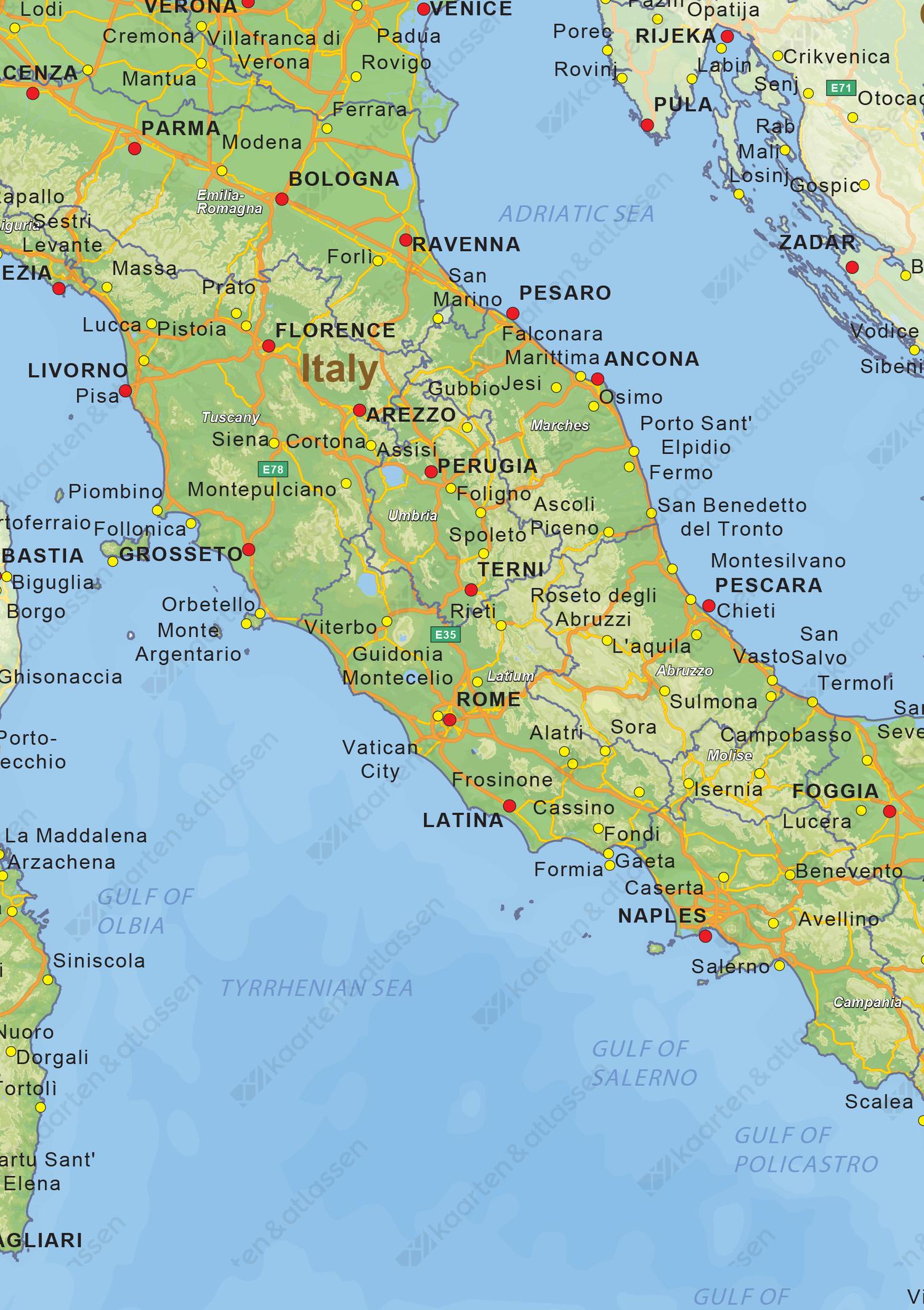 Natuurkundige landkaart Italië