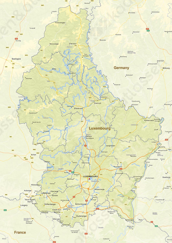 Natuurkundige landkaart Luxemburg