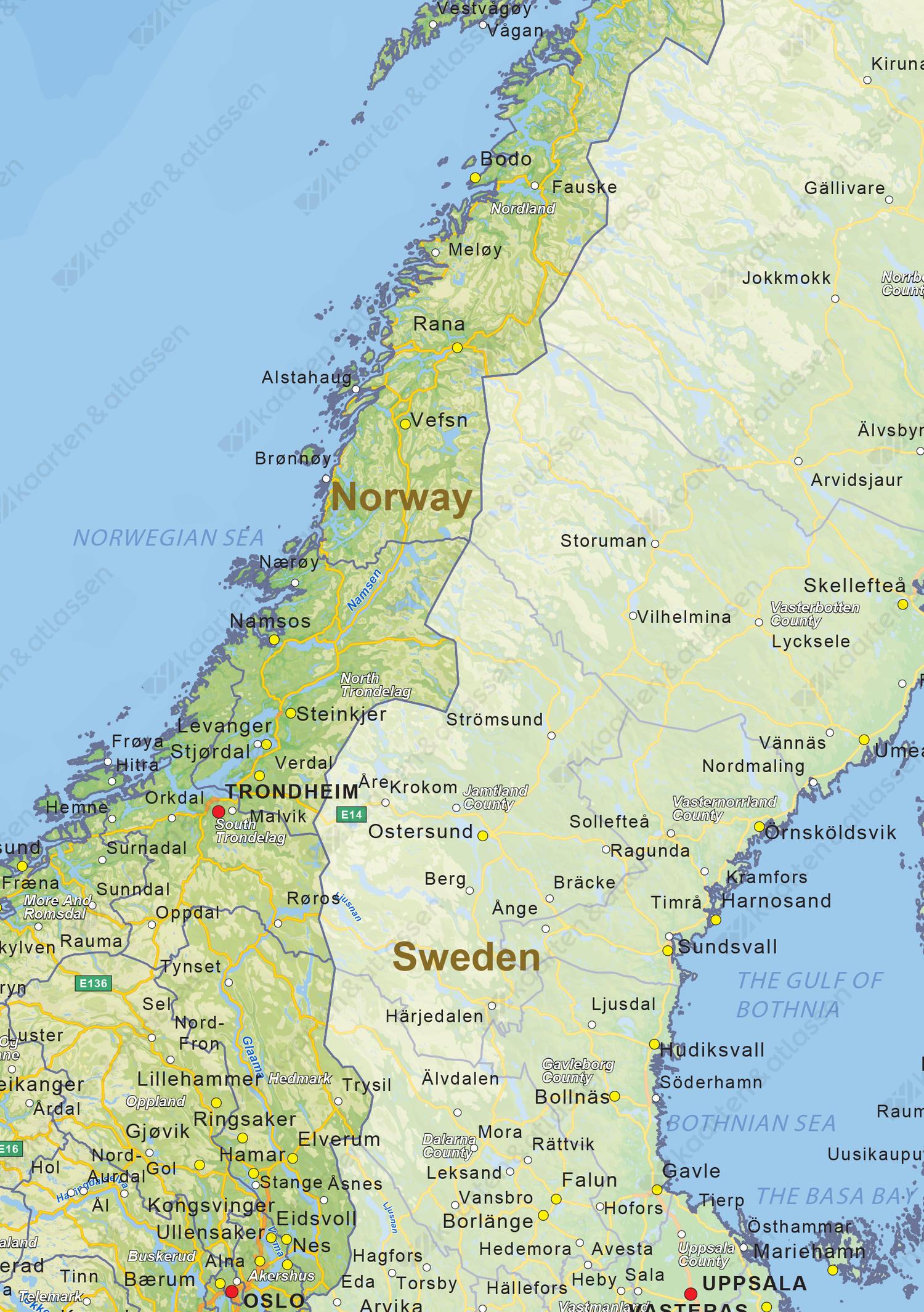Natuurkundige landkaart Noorwegen