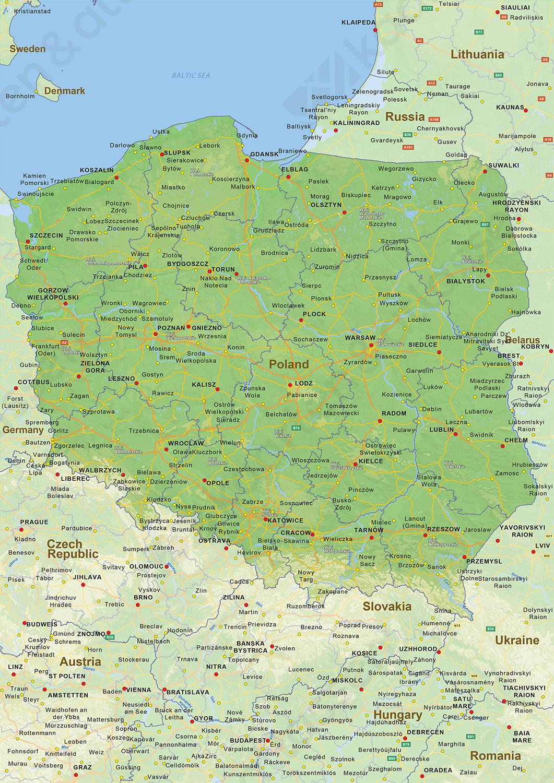 kaart van polen Digitale Natuurkundige landkaart Polen 1457 | Kaarten en Atlassen.nl