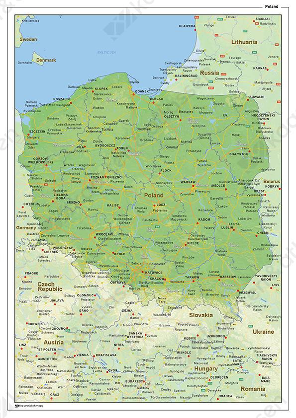 Natuurkundige landkaart Polen
