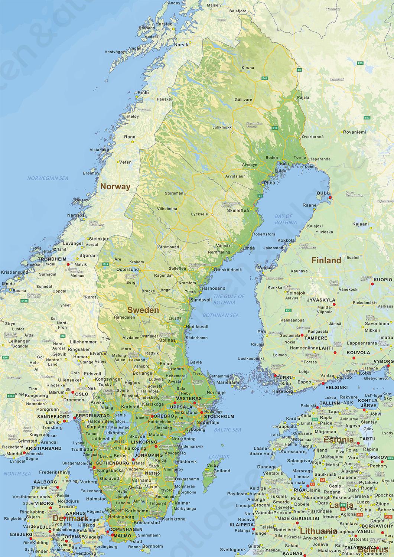 Digitale Natuurkundige Landkaart Zweden 1471 Kaarten En Atlassen Nl