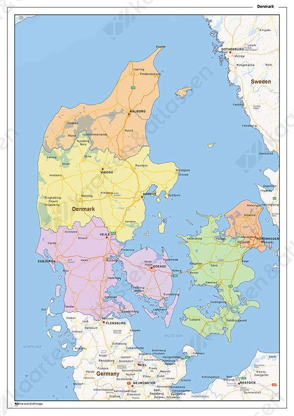kaart denemarken Staatkundige landkaart Denemarken 1430 | Kaarten en Atlassen.nl