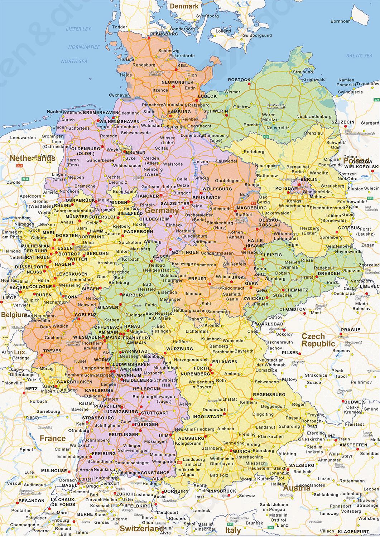 Digitale Staatkundige Landkaart Duitsland 1462 Kaarten En