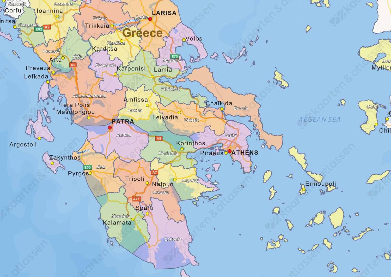 Natuurkundige landkaart Griekenland