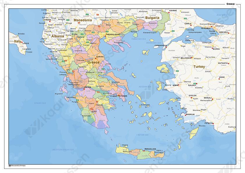 Staatkundige Landkaart Griekenland 1438 Kaarten En Atlassen Nl