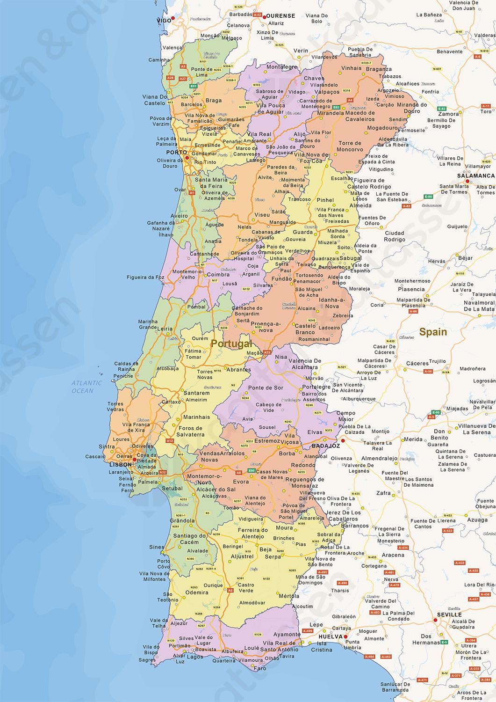 gedetailleerde kaart portugal Portugal Op Kaart | diabetesontherun