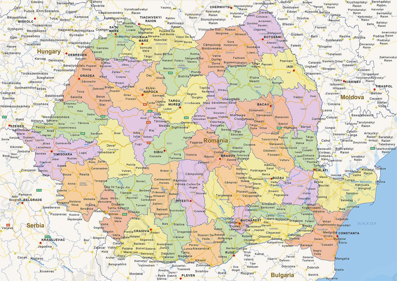 Staatkundige landkaart Roemenië
