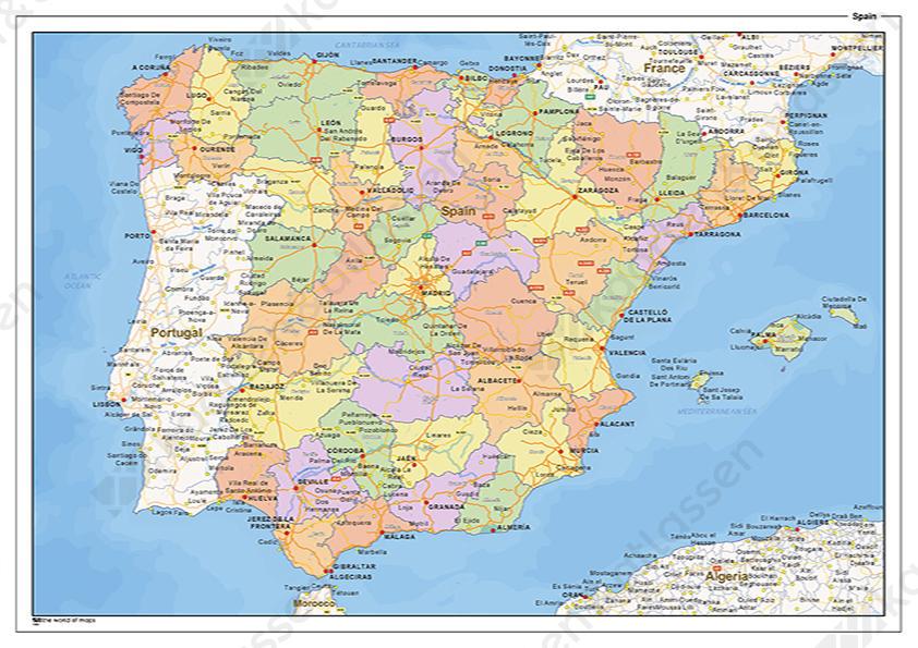 Staatkundige Landkaart Spanje 1466 Kaarten En Atlassen Nl