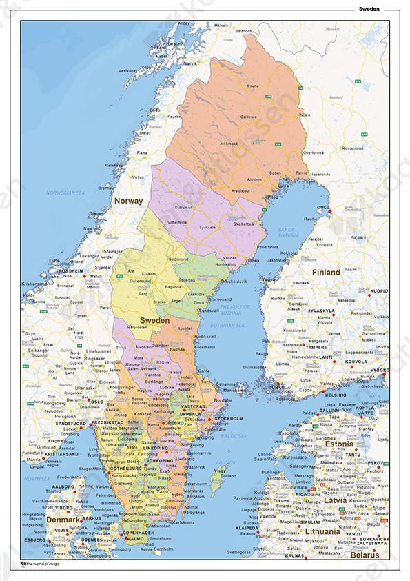 Staatkundige landkaart Zweden