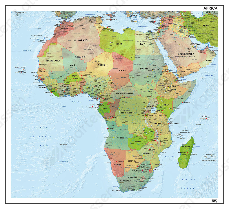 Digitale Afrika staatkundig met reliëf 1294