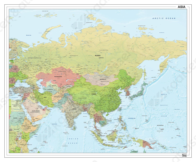 Azië staatkundig met reliëf 1295