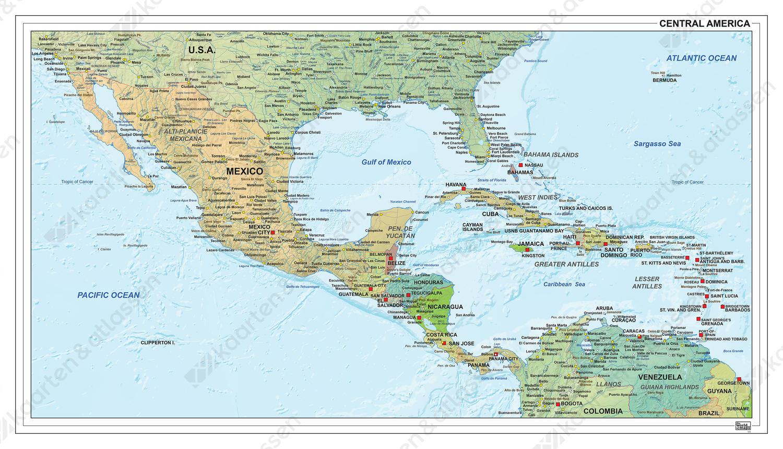 Midden-Amerika staatkundig met reliëf 1312