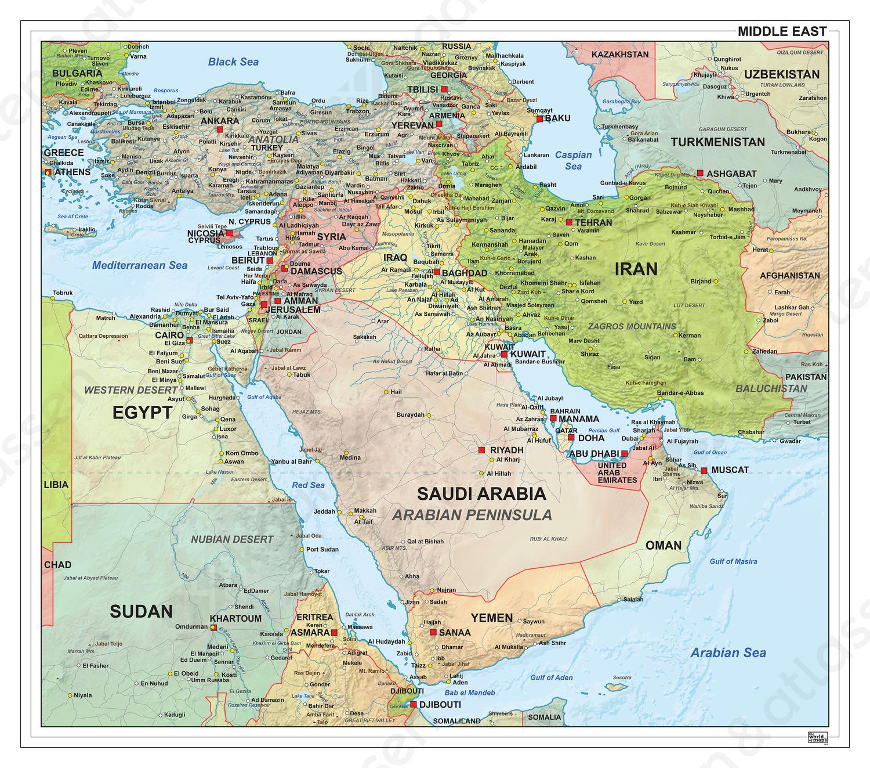 Digitale Midden Oosten staatkundig met reliëf 1315