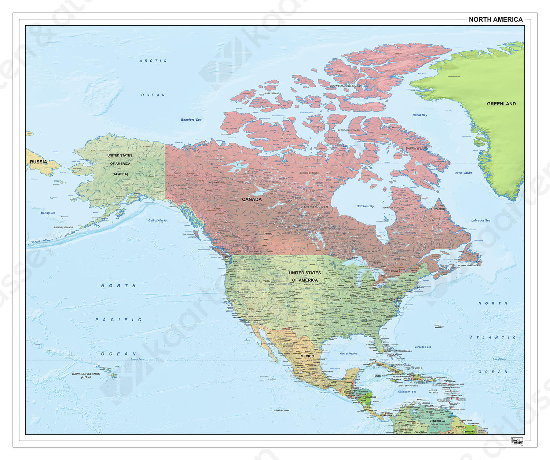 Noord-Amerika staatkundig met reliëf 1291