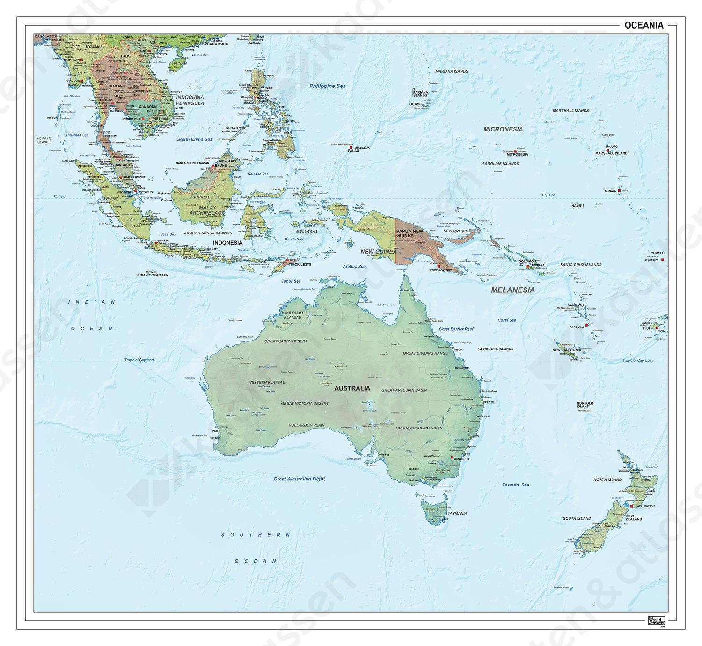 Digitale Oceanië staatkundig met reliëf 1296