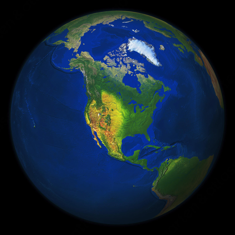 Wereldbol Noord-Amerika 550